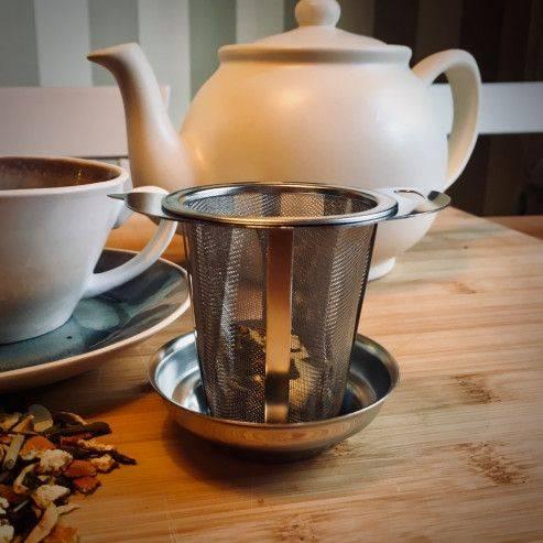 Tea strainer 74mm, model teapot with drip tray - Tea Preparation