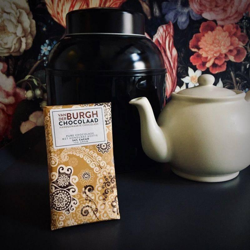 Pure chocolade 54% met grof gemalen Honduras Koffie - Van der Burgh - Chocolade