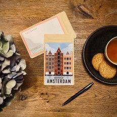 Tea Postcard Greetings from Amsterdam Vintage - Warehouses - Tea Postcards