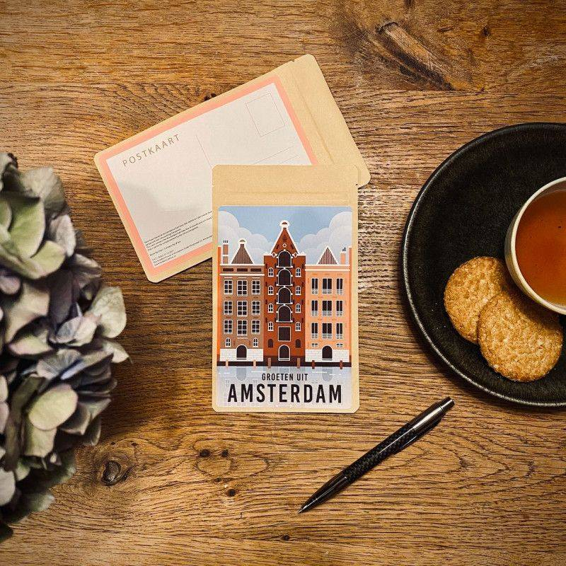 Tea Postcard Greetings from Amsterdam Vintage - Warehouses - T-mail