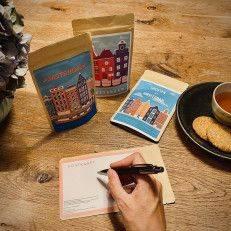 Tea Postcard Greetings from Amsterdam Vintage - Colourful Houses - Tea Postcards