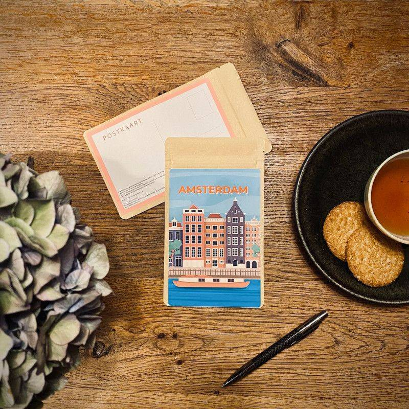 Tea Postcard Greetings from Amsterdam Vintage - Boat - Tea Postcards