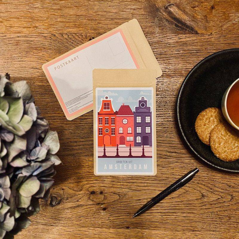 Tea Postcard Greetings from Amsterdam Vintage - Pretty Houses - T-mail