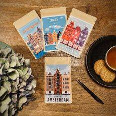 Set of 4 Tea Postcards - Greetings from Amsterdam - Tea Postcards