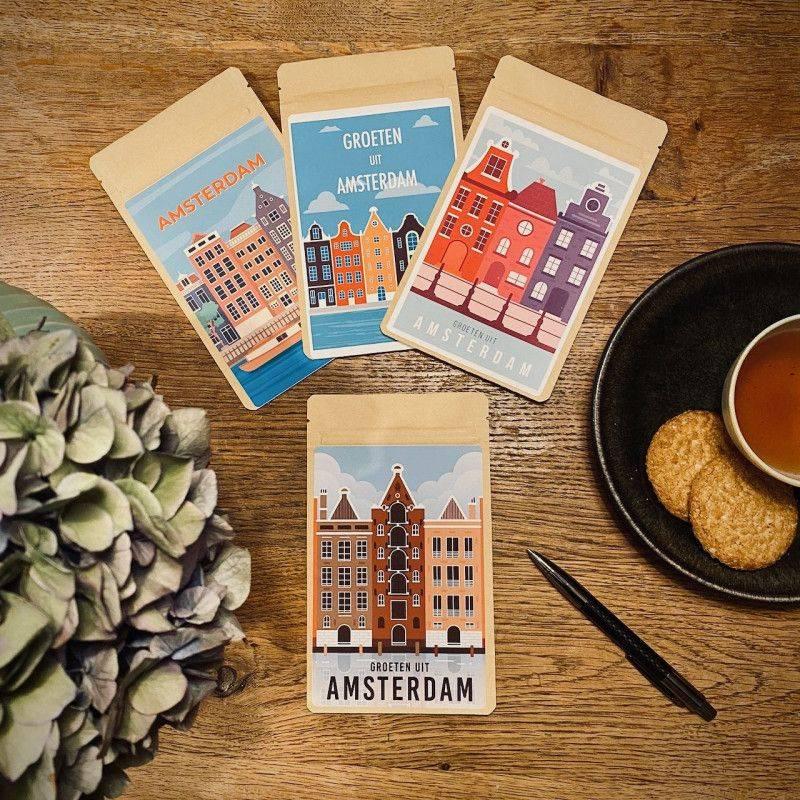 Set van 4 Theekaarten - Amsterdam Vintage - T-mail