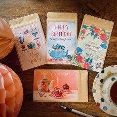 Set of 4 Tea Postcards - Happy Birthday - T-mail