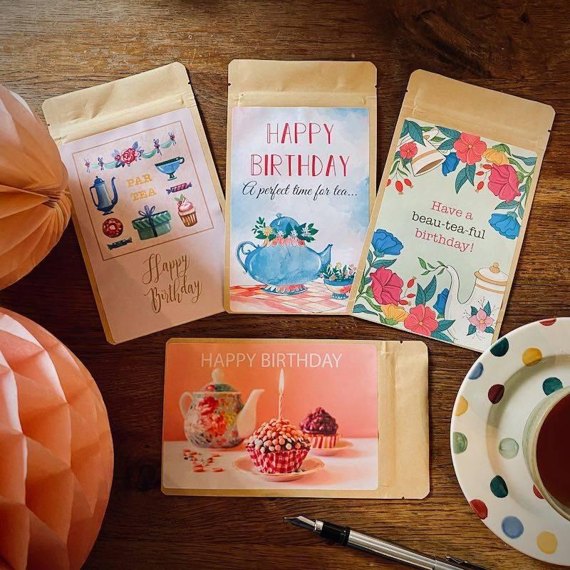 Set of 4 Tea Postcards - Happy Birthday - T-mail
