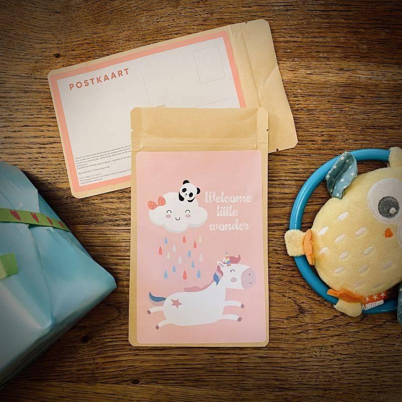 Theekaart - Welcome little wonder (roze) - T-mail