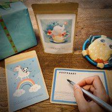 Tea Postcard - Welcome little wonder (blue) - T-mail